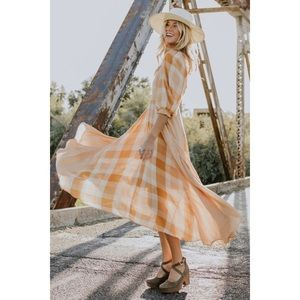 Free People gingham midi dress flowy smocked